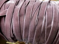 "VINTAGE 3/8"" Mauve Rose VELVET RIBBON Dolls Childs Edging 3yd Swiss"