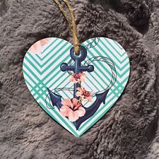 Anchor Nautical Handmade Wooden Heart Plaque Decoupage 10cm