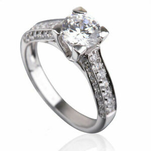 VVS 1 3/4 CT ROUND CUT ACCENTED BRILLIANT DIAMOND 18K WHITE GOLD PROPOSAL RING