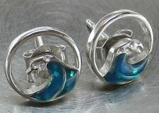 925 STERLING SILVER Inlaid BLUE FIRE OPAL Ocean Wave Designer Stud Earrings