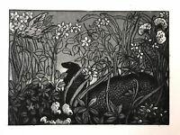MAURICE DE BECQUE Gravure Eau Forte Art Deco 1930 serpent snake cobra