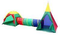 KIDS CHILDRENS PLAY TENT & TUNNEL SET KID INDOOR OUTDOOR GARDEN FUN DOME HOUSE