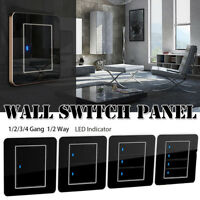 1/2/3/4 Gang 1/2 Way Modern Wall Light Switch Panel Push Buttons LED Indicator--