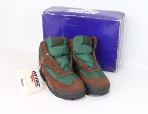 NOS Vintage 90s Hi-Tec Topaz Jr Suede Leather Ankle Hiking Boots Youth Size 2Y