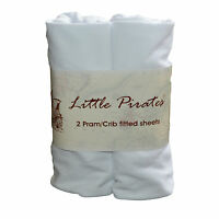 2 x Baby Pram/Crib/ Moses Basket Jersey Fitted Sheet 100% Cotton White 40x90cm