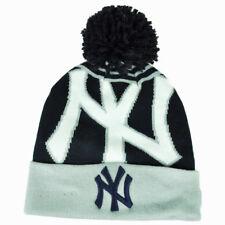 MLB New Era New York Yankees Logo Whiz Pom Pom Knit Beanie Cuffed Hat Toque Blue