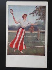 LAWN TENNIS American Female Lawn Tennis Player - Old Postcard