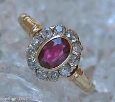 Rubinring mit Altschliff Diamanten Diamond Rubin Rubine in aus 18K. 750 Gold