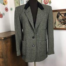 Vtg Ralph Lauren Blazer Black Gray Herringbone Velvet Collar Equestrienne Sz 4