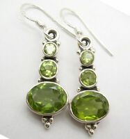 "Natural Green PERIDOT 3 Gemstone ! 925 Solid Silver Art Dangle Earrings 1.5"" NEW"