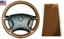 Tan Genuine Leather Steering Wheel Cover AXX For Ford Lincoln & Other Makes