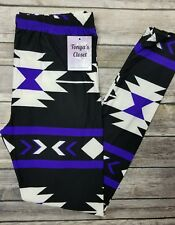Purple Tribal Aztec Leggings Butter Soft Multi Color Printed ONE SIZE OS