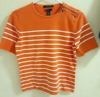 Lauren Ralph Lauren Womens Knit Pullover Sweater Top Orange/White Striped Size M