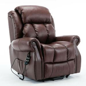 Wellington Leather Dual Motor Riser Recliner Arm Chair - Cream / Chestnut