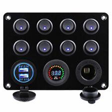 FXC 12V-24V 8 Gang Rocker Switch Panel with Dual USB Power Socket