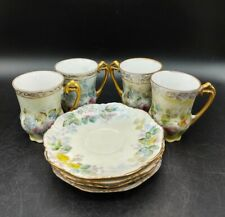 Atq Set (8) Porcelain Hand Painted Floral Hot Chocolate Demitasse Cups Saucers