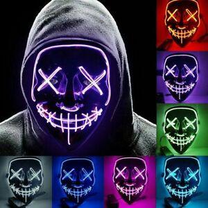 Halloween LED Masque El Lumineux Tête Mort Squelette Crâne Costume Cosplay Props