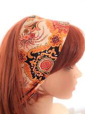Bandeau Echarpe Headband Vintage Coloris Feu et Noir Cashemire