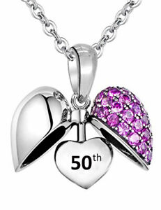 50th Birthday Pendant & Necklace - S925 Sterling Silver Heart Charm