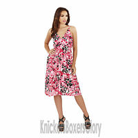 Ladies Aztec/Poppy Print Strappy Sleeveless Short Summer Beach Dress Size 8 - 22
