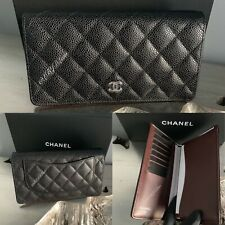 CHANEL YEN WALLET Black Caviar Silver ORGANIZER TRAVEL CLUTCH CHECKBOOK COVER