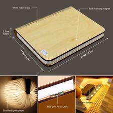 Folding Led Book Lamp Wood LED Night Light  USB Rechargeable Lamp Gift