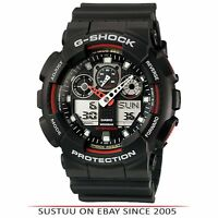 Casio GA100-1A4 G-Shock Chronograph Watch│Shock-Magnetic Resist│World Time│Black