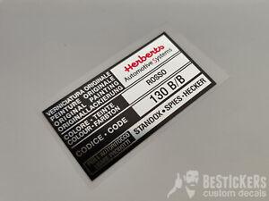 Adesivo etichetta herberts ROSSO 130 B/B vernice paint restauro fiat alfa lancia