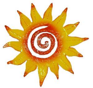 Hand Crafted Tropic Sun Rays Haitian Metal Art Yellow Orange
