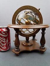 Armillary Sphere Desk Globe Decor Vtg Italy Mercurio D'Oro Zodiac Spins Wood Met