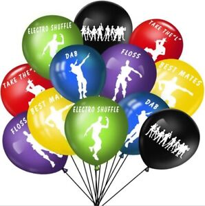 "10 X 12"" Multi Coloured Fortnite Themed DANCE  Latex Printed Balloons Birthday"