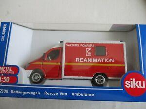 Miniature Mercedes Benz Sprinter Ambulance Reanimation Firefighters 1/50 SIKU