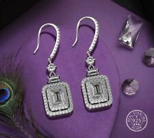 Emerald Cut White Sapphire Drop Earrings 925 Sterling Silver Square Gemstones