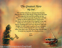 "Father Dad ""Greatest Hero"" Personalized Fireman Firefighter Poem Gift"