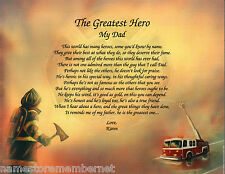 """Father Dad """"Greatest Hero"""" Personalized Fireman Firefighter Poem Gift"""