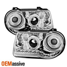 For 05-10 Chrysler 300 C Model Special Chrome LED Dual Halo Projector Headlights
