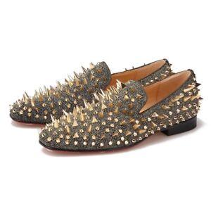 Merlutti Gold Rhinestones Rivets Sparkly prom wedding Loafers
