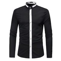 Men's Stand Collar Button Front Slim Fit Dress Formal Shirt Fall Casual Tops New