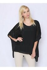 Ladies Crochet Side Panel Black Poncho with separate stretch knit tank