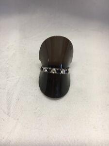 Vintage Soild Silver Blue White Stone Ladies Dress Ring