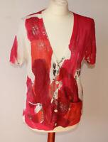 Luisa Cerano Cardigan Pink White Orange Cotton Metallic Designer Pockets UK 14