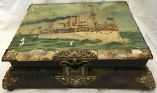 Antique CELLULOID PHOTO ALBUM Working Clasp/Music Box/Pics Steam Ship/Nautical