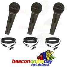 3x SANSAI Dynamic Microphone Mic + Free Cable + Adapter Karaoke Recording Studio
