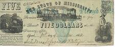 Mississippi $5 1862  XF Bank Note Faith Pledged  train #51432