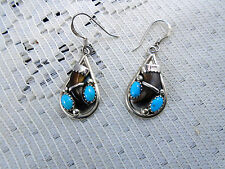 Native American Designer LH Signed Earrings Turquoise Tigers Eye Sterling Zuni
