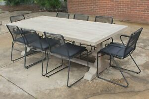 Melania - Outdoor Dining Table - Solid Reclaimed Teak - 9 Piece Setting