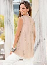 Stunning Hand Beaded Nude Vest Swing top Size S (8-10)
