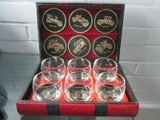 Veteran Cars Whisky Glasses Coasters Set in Book Shaped Box Swedish by Phillipe
