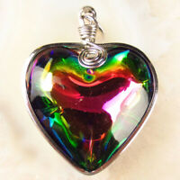1 Pcs 56x45x16mm Wrapped Rainbow Titanium Crystal Heart Pendant Bead CG1263
