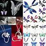Women Pretty Enamel Butterfly Dragonfly Crystal Pendant Chain Necklace Jewelry